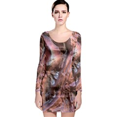 Wet Metal Structure Long Sleeve Bodycon Dresses