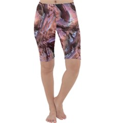 Wet Metal Structure Cropped Leggings