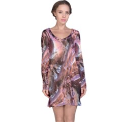 Wet Metal Structure Long Sleeve Nightdresses