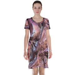 Wet Metal Structure Short Sleeve Nightdresses
