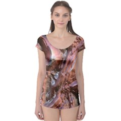 Wet Metal Structure Short Sleeve Leotard