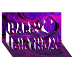 Wet Wallpaper, Pink Happy Birthday 3d Greeting Card (8x4)