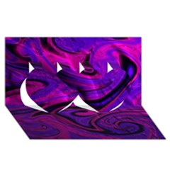 Wet Wallpaper, Pink Twin Hearts 3D Greeting Card (8x4)