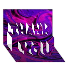 Wet Wallpaper, Pink Thank You 3d Greeting Card (7x5)