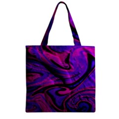 Wet Wallpaper, Pink Zipper Grocery Tote Bags