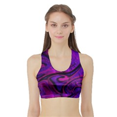Wet Wallpaper, Pink Women s Sports Bra with Border