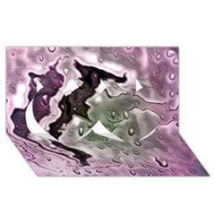 Wet Metal Pink Twin Hearts 3D Greeting Card (8x4)