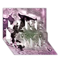 Wet Metal Pink TAKE CARE 3D Greeting Card (7x5)