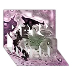 Wet Metal Pink Get Well 3D Greeting Card (7x5)