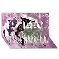 Wet Metal Pink Happy New Year 3d Greeting Card (8x4)