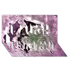 Wet Metal Pink Laugh Live Love 3d Greeting Card (8x4)