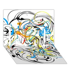 Abstract Fun Design I Love You 3D Greeting Card (7x5)