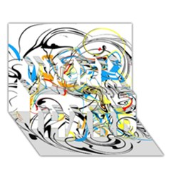 Abstract Fun Design WORK HARD 3D Greeting Card (7x5)