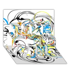 Abstract Fun Design Take Care 3d Greeting Card (7x5)