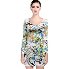 Abstract Fun Design Long Sleeve Bodycon Dresses