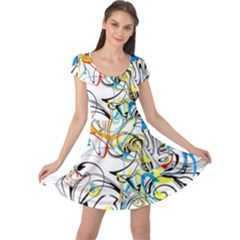 Abstract Fun Design Cap Sleeve Dresses