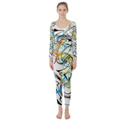 Abstract Fun Design Long Sleeve Catsuit