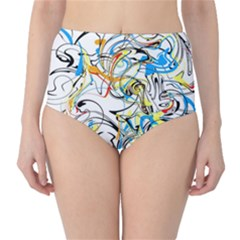 Abstract Fun Design High-Waist Bikini Bottoms