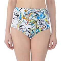 Abstract Fun Design High-Waist Bikini Bottoms