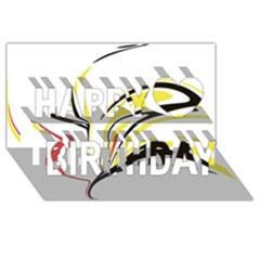 Abstract Flower Design Happy Birthday 3D Greeting Card (8x4)