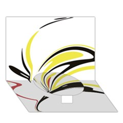 Abstract Flower Design Circle Bottom 3D Greeting Card (7x5)