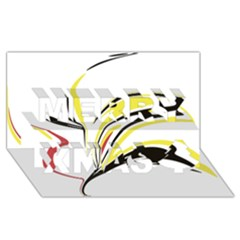 Abstract Flower Design Merry Xmas 3D Greeting Card (8x4)