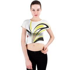 Abstract Flower Design Crew Neck Crop Top