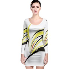 Abstract Flower Design Long Sleeve Bodycon Dresses