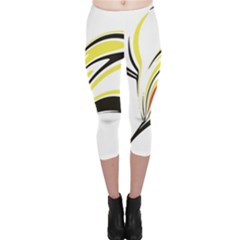 Abstract Flower Design Capri Leggings