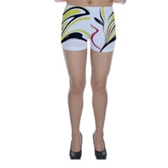 Abstract Flower Design Skinny Shorts
