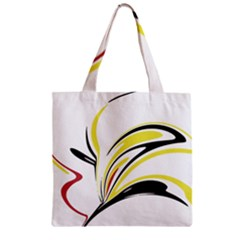 Abstract Flower Design Zipper Grocery Tote Bags