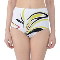 Abstract Flower Design High-Waist Bikini Bottoms