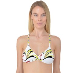 Abstract Flower Design Reversible Tri Bikini Tops