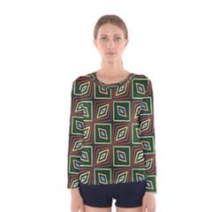 Rhombus flowers pattern Women Long Sleeve T-shirt