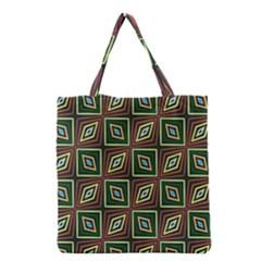 Rhombus Flowers Pattern Grocery Tote Bag