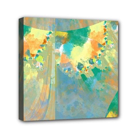Abstract Flower Design In Turquoise And Yellows Mini Canvas 6  X 6