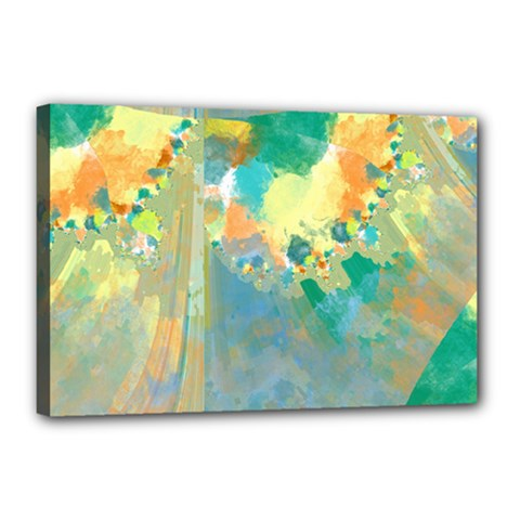 Abstract Flower Design in Turquoise and Yellows Canvas 18  x 12