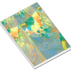 Abstract Flower Design in Turquoise and Yellows Large Memo Pads