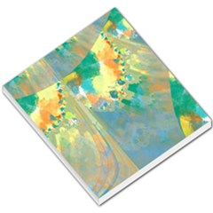 Abstract Flower Design in Turquoise and Yellows Small Memo Pads