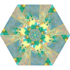 Abstract Flower Design In Turquoise And Yellows Mini Folding Umbrellas