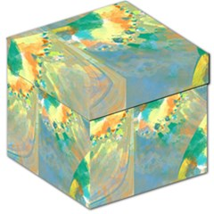 Abstract Flower Design in Turquoise and Yellows Storage Stool 12