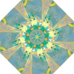 Abstract Flower Design in Turquoise and Yellows Golf Umbrellas