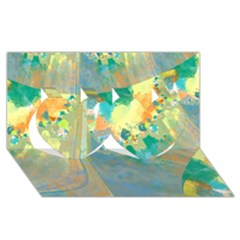 Abstract Flower Design in Turquoise and Yellows Twin Hearts 3D Greeting Card (8x4)
