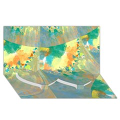 Abstract Flower Design In Turquoise And Yellows Twin Heart Bottom 3d Greeting Card (8x4)