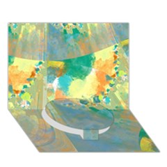 Abstract Flower Design In Turquoise And Yellows Circle Bottom 3d Greeting Card (7x5)