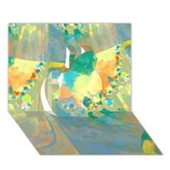Abstract Flower Design in Turquoise and Yellows Apple 3D Greeting Card (7x5)