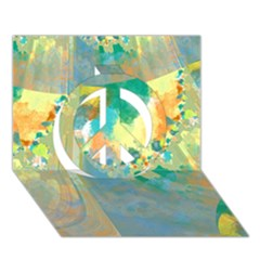 Abstract Flower Design in Turquoise and Yellows Peace Sign 3D Greeting Card (7x5)
