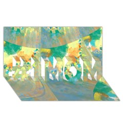Abstract Flower Design in Turquoise and Yellows #1 MOM 3D Greeting Cards (8x4)