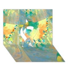 Abstract Flower Design in Turquoise and Yellows Ribbon 3D Greeting Card (7x5)