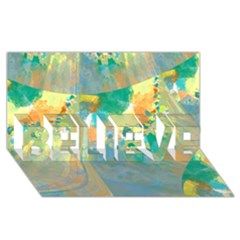 Abstract Flower Design In Turquoise And Yellows Believe 3d Greeting Card (8x4)